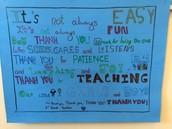 Grade 3 families express their gratitude for the teachers