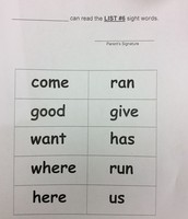 Example of word wall lists.