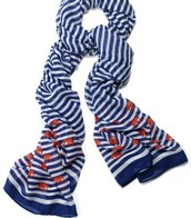 Navy stripe/elephant scarf