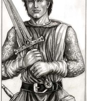 Sir Galahad and his sword
