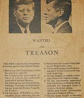 עלון שהופץ ב-21 בנובמבר 1963 בדאלאס, יום אחד לפני ההתנקשות בג'ון קנדי