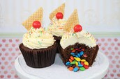 Waffle cone and M&M Cupcake