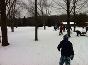 Winter activities snow shoeing and cross country skiing