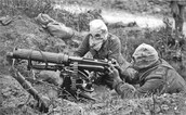 Machine guns and gas masks were used