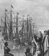 The Britain is arguing at the colonists.