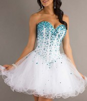 Strapless White dress with blue sparkles