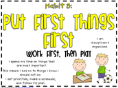 FOCUS Teacher Lesson's for Habit 3 (Put First Things First) Week May 9 - May 13