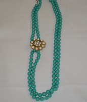 La Coco Bead Necklace Turquoise w/ removable broach $30