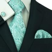 TheDapperTie - New Men's Green Paisley 100% Silk Neck Tie Set 107