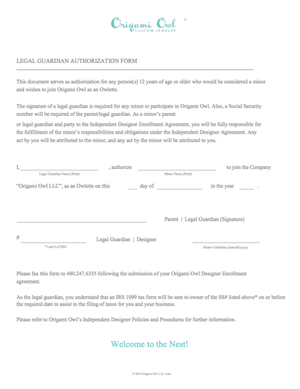 ORIGAMI OWL TEAM OPPORTUNITY – Legal Guardianship Form