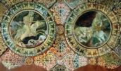 צלאח אד-דין (מימין) נלחם בריצ'רד לב הארי במהלך מסעות הצלב. ציור על אריח מהמאה ה-13