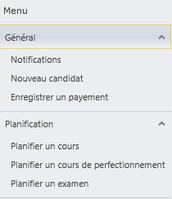 Des menus déroulants pour accéder aux différentes fonctionnalités