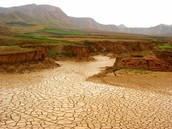 River dried up because of a drought.