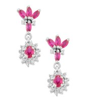 STERLING SILVER EARRING PAIR STUDDED WITH SYNTHETIC RUBY & DIAMOND