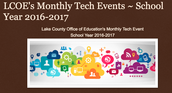 Monthly Tech Events, 2016-2017 Calendar available