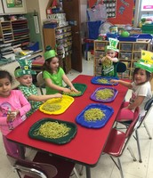 Cold, green spaghetti - fun to play with!