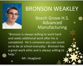 Congratulations to Bronson Weakley, HEA Junior, and Central Nine Student of the Month.
