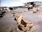 Earthquake destroys parking lot