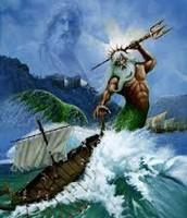 Poseidon wrecking Odysseus's Ship