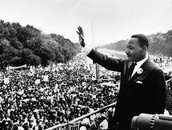 "King giving his famous ""I Have A Dream"" speech"
