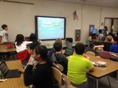 Mrs. Maenner's class doing a kahoot about call numbers!