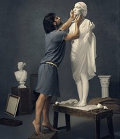 Pygmalion working on Galatea