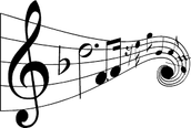 musical notes falling into rhythm