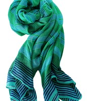 Palm Springs Scarf- Turquoise Stripe $30