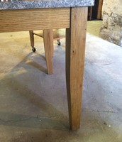 Tapered leg and maple base