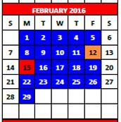 February 2016 School Calendar