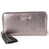 Leather zip around wallet with signature tassel
