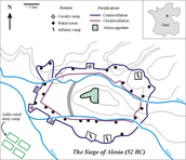A diagram of the wall surrounding Alesia.