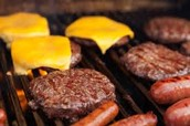 hot dogs , hamburgers, steak, and fish
