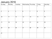 January Dates At A Glance