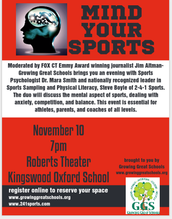 MIND YOUR SPORTS - November 10,  7PM at Kingswood Oxford School: