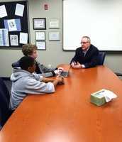 Students interviewing Dr. Vogelaar for Literacy Innovations!