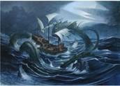 ataque de un monstruo marino a un navío.