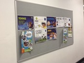 Posters on corridor noticeboards not well displayed