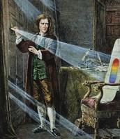 Newton using his prism.