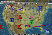 Weather Map of a Stationary Front
