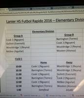 1st Annual Lanier HS Futbol Rapido-Elementary Division