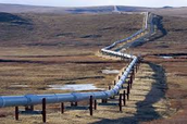 An above ground pipeline